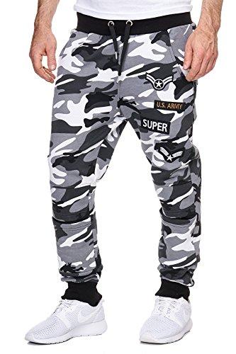 Cabin Herren Trainingshose Armee Army Camouflage Jogginghose Damen Sporthose Fitness Grau L