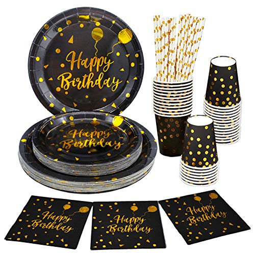 125 PCS Black and Gold Party Supplies Birthday Party Plates and Cups and Napkins Serves 25 Gold Disposable Dinnerware Sets for Birthday Party Graduation Baby Shower
