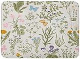 ECNM56B Zerbini Tappeti da bagno Tappeto per Porta Flora Motivo Floreale Vintage Erbe e Fiori selvatici Incisione Botanica Colorato vittoriano 15.8'x23.6