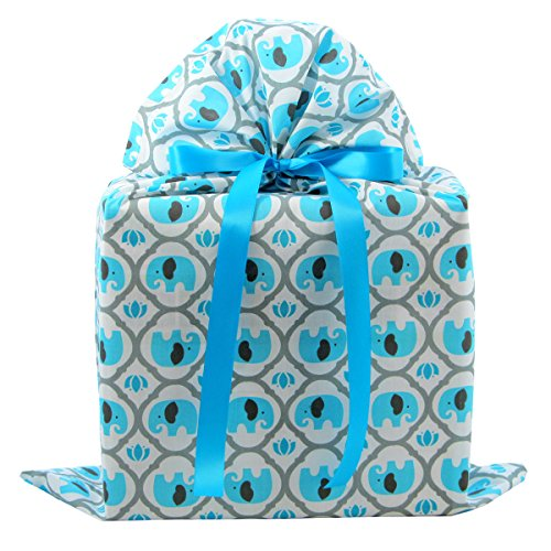 Elephants Reusable Fabric Gift Bag for Baby Shower, Child's Birthday, or Any Occasion (Large 20 Inches Wide by 27 Inches High, Turquoise Blue)