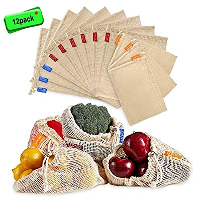 LONOVE Reusable Produce Bags 12 Packs Washable Mesh Grocery Bags Organic Cotton with Tare Weight Tags Muslin bag Eco Friendly Wooden Drawstring Lock for Veggies, Fruits, Bulk Food Shopping & Storage