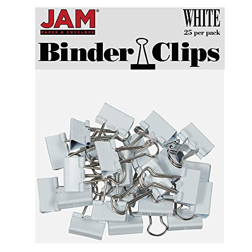 JAM PAPER Colorful Binder Clips - Small - 3/4 Inch (19 mm) - White Binderclips - 25/Pack