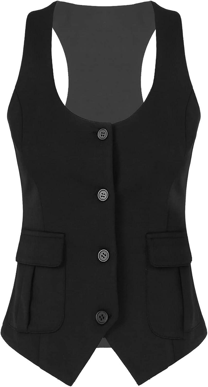 Choomomo Womens Waistcoat Vest Vintage Fitted Button Max 62% OFF Nashville-Davidson Mall Dow Regular