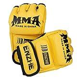 ENZHE UFC Guantes para hombres y mujeres, guantes de boxeo de medio dedo con banda de muñeca ajustable para Sanda Sparring Muay Thai Punching Bag Training, Pro Style MMA Grappling Gloves
