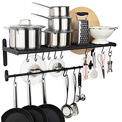 Wallniture Lyon Wall Mount Kitchen Shelf Organizer and Kitchen Storage Rack for Cookware Lids Utensil Holder with 20 Hooks from