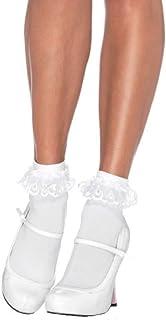 Leg Avenue calcetines par de patas de las mujeres con volantes blanco un tamaño aproximadamente 36 a 40