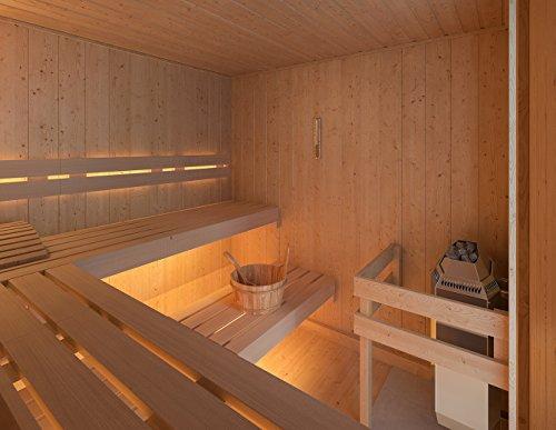 ISIDOR Premium Gartensauna Fortuna Elektro- Saunaofen Kaja mit 9 kW Heizleistung und externer Steuerung; Outdoorsauna mit 4,1m² Großem Saunaraum und Großer Veranda für Ein puristisches Saunavergnügen