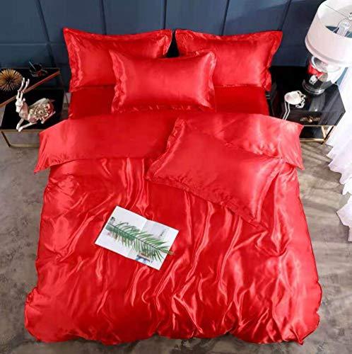 Bedding-LZ -Verano Hielo Seda Cama de Cuatro Piezas Solo Hielo Fresco Seda simulación de Seda Estudiante Dormitorio Familia Hotel-S_Cama de 2.0m (4 Piezas)