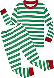 Image of Classic Green Striped Christmas Pajamas for Boys and Toddler Boys - See More Colors