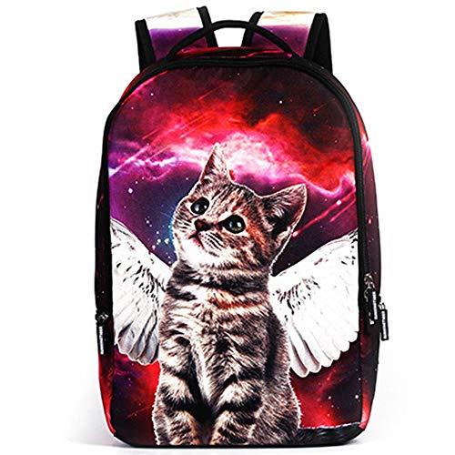 Sebasty Personality Angel Star Cat Men's And Women's Breathable Lightening Polyester Shoulder Bag Student Bag, Business Travel Student Bag, 14' Computer Mezzanine, School Size 48 * 31 * 15cm