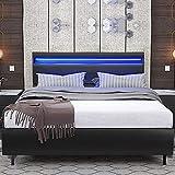 HALLOLURE Queen Size LED Bed Frame with 16 Color Changing LED Lights Headboard, Modern Upholstered PU Leather Wood Slat Support Platform Bedroom Furniture No Box Spring Needed, Black