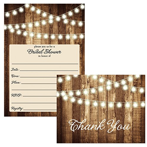 SET of Rustic Bridal Shower Invitations & Thank You Cards with Envelopes (25 of each) Shabby Chic Fill In Wedding Party Invites Excellent Value Thank You Notes VS0007S