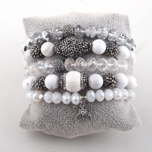 PPuujia Juego de pulseras de joyería de moda con piedra natural, 5 unidades, para mujer (longitud: 18,5 cm, color del metal: 2)