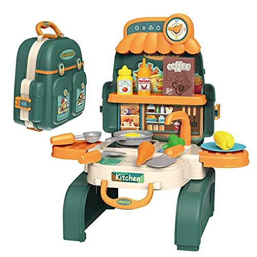 D-FantiX Backpack Kitchen Set for Kids, 3 in 1 Kids Mini Kitchen Pretend Play Toys Cooking Playset with Play Pots and Pans Set, Kids Play Kitchen Food Accessories Gift for Toddlers Boys Girls