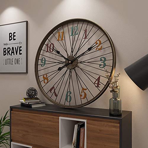 JYSXAD Reloj de Pared Grande, Antiguo con Forma de Rueda de Bicicleta, Redondo, silencioso y sin tictac, Reloj de Pared Decorativo Grande, Utilizado en la Sala de Estar, Dormitorio, ofici