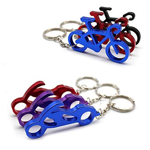 Mila-Amaz 6Pcs Portachiavi in Alluminio con Funzione Apribottiglie, Apribottiglie in Alluminio Portachiavi con Anello Portachiavi, Bicicletta e Motociclo