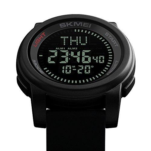 Skmei Militar Reloj, Submersible Digital Deportivo Hombre Reloj Barato de Moda con Brújula,Horario de verano,Varios Husos Horarios Relojes Led de Pulsera de Negro