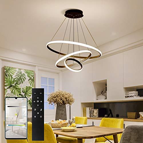 ERWEY LED Pendelleuchte Dimmbar Designleuchte Höhenverstellbar 3 Ringe Deckenleuchte mit Fernbedienung Wohnzimmer Deckenlampe Modern Kronleuchter Hängelampe (3 Ringe, Schwarz-Dimmbar)