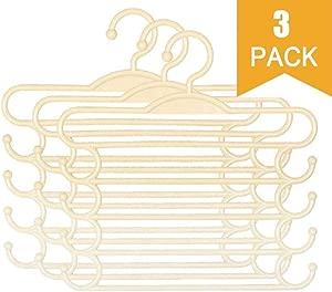YIJIAJIA 3pack multi-layer hanger non-slip sponge metal hanger wardrobe storage rack multi-purpose closet hanger space saving storage bag for coat sweater pants shirt T-shirt