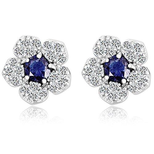Yazilind deslumbrante rodio plateado azul zafiro rojoondo claro cortada cúbico Circonita Pendientes Flor garra