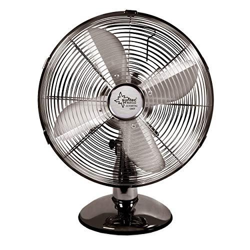 SUNTEC Tischventilator CoolBreeze 3000 TVM - Leise 30 cm, 35 Watt   Tisch Ventilator 3 Stufen, Tragbar   Fan Windmaschine Metall Chrom   für Schreibtisch, Schlafzimmer, Büro, Wohnung, Balkon