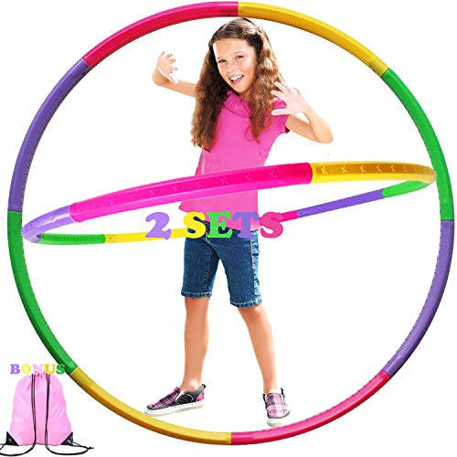 2 Set Kids Hoola Hoops w/ Gym Backpack, Detachable Size Adjustable Plastic Colourful Exercise Hoop, Ideal Fitness Toy Hoop for Playing, Party-Game, Gymnastics, Dance, Pet Training, Wreath,Girls & Boys
