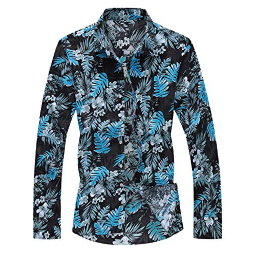CAOQAO Camisa Hawaiana Hombre Verano Manga Larga Casual Estampado Floral 2019 Moda 13 Tipos