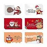 Anyingkai 24pcs Tarjetas de Navidad,Tarjetas Navidad Pack,Postales Navidad,Tarjetas de Navidad con Sobres,Pegatinas Navideñas,Tarjetas Navidad Pequeñas (Dibujos animados)