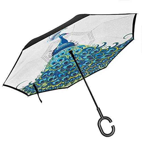 Peacock Inverted Umbrellas Reverse Folding Umbrella Peacock Illustration Floral Classical Curvy Artful Design Tropics Wildlife Theme Upside Down UV Protection Windproof for UV Protection & Rain,