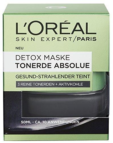 L'Oréal Paris Tonerde Absolue Detox Maske, Gesichtsmaske mit reiner Tonerde und Aktivkohle, entfernt Mitesser und sorgt für einen gesund-strahlenden Teint, 50ml