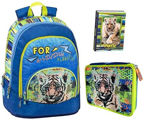 Kit Completo ZAINO SCUOLA WWF Tigre Tigrotto A Living Planet maschile boy tondo 2020 + ASTUCCIO 2 piani completo + DIARIO WWF 2020 21 + Omaggio penna glitterata e portachiave fischietto