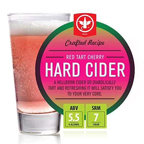 BrewDemon 2 Gal. Red Tart Cherry Hard Cider Recipe Kit - Makes a Wicked-Good 5.5% ABV Batch of Craft Brewed Hard Cider