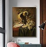 Imprimir ilustraciones arte de pared Decoración de la pared con un cristal y ostras Jan Davidszoon de Heem impresiones de 48 x 60 cm para pared, decoración del hogar