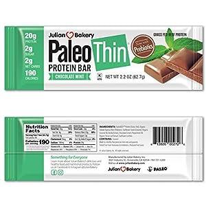 Julian Bakery Paleo Thin Protein Bar | Chocolate Mint | Grass-Fed Beef | 20g Protein | 2 Net Carbs | 10 Bars