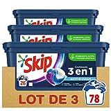 Skip Ultimate Lessive Capsules Trio Active Clean x78, Capsules 3en1, Efficacité, Soin des Fibres et Fraîcheur Longue Durée, 78 Lavages (Lot de 3x26 Capsules)