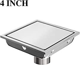 Ushower Square Drain for Shower 4 Inch, Invisile Square Floor Drain Tile Insert, Bathroom Drain Square Brushed Nickel with Hair Strainer for Bathroom Kitchen Basement