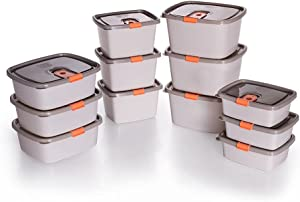 Plastic Food Storage Containers w/attached Lids. Multi sizes Containers. Microwave/Freezer & Dishwasher Safe - Steam Release Valve. BPA/Free (12, Beige & Orange)