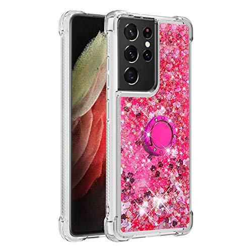 Carcasa para Samsung Galaxy S21 Ultra 5G, brillante cristal diamante, soporte de teléfono líquido degradado transparente, silicona TPU antigolpes, carcasa de Amor Rosa