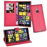 Cadorabo Hülle für Nokia Lumia 1520 Hülle in Karmin Rot Handyhülle mit Kartenfach & Standfunktion Hülle Cover Schutzhülle Etui Tasche Book Klapp Style Karmin-Rot