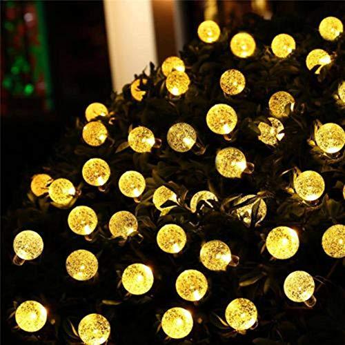 N\C 20/50 LEDS bola de cristal 5M/10M Solar LED cadena luces de hadas guirnalda solar jardín Navidad luces de decoración al aire libre para árboles, terrazas, patios, bodas, fiestas, blanco cálido
