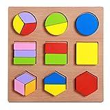 FLORMOON Puzzles de Madera para niños pequeños Forma geométrica Colorida Rompecabezas Conjunto de pegboard Bloques educativos preescolares Montessori Toy para niños