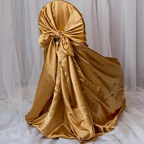 Efavormart 50pcs Max 50% OFF Gold Silky Satin Chair Covers Al Fits Cheap mail order specialty store Universal