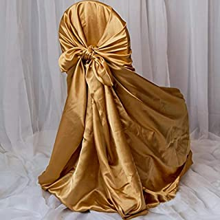 Efavormart Gold Universal Satin Chair Covers-Pack of 5