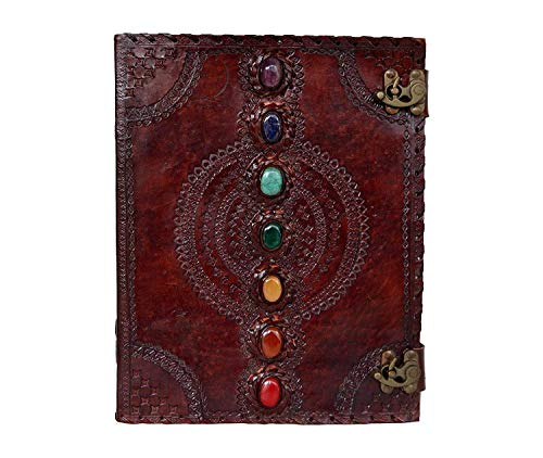 ALCRAFT Handmade Leather Diary Journal Seven Chakra Medieval Stone with C Lock Daily Planner Guest Book 10 X 13 Inch Brown