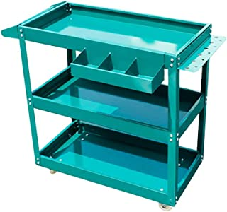BoeWan Tool Trolley Workbench Metal Service Utility Cart Heavy Duty Supply Cart with Three Storage Shelves Parts Tray Tool...