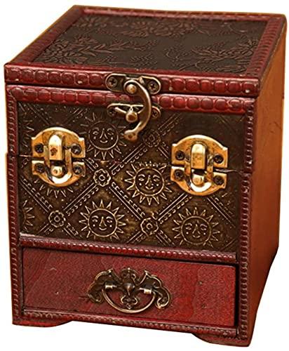 HKHJ - Estuche para joyas vintage hecho a mano, organizador de joyas retro antiguo con espejo, pequeño joyero de madera de múltiples formas, cofre del tesoro, caja de exhibici