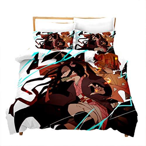 Conjunto de cama 3D caçador de demônios anime jogo de cama para cama de casal Queen Size - 1 capa de edredom + 1/2 capa de almofada - Conjuntos de capa de edredom de microfibra macia para amantes de fãs, decoração de casa (22, casal)
