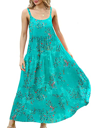 YESNO Women Casual Loose Bohemian Floral Print Dresses Spaghetti Strap Long Maxi Summer Beach Swing Dress L E75 CR20