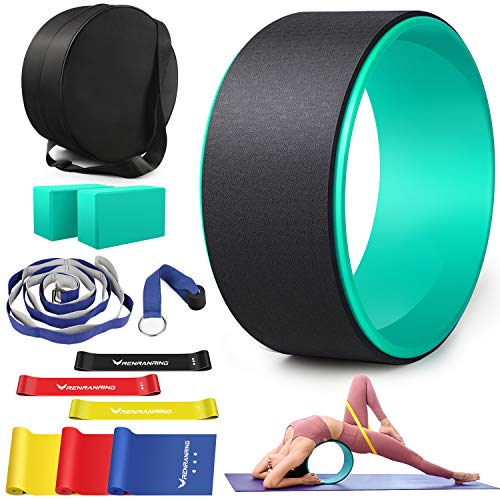 RENRANRING Yoga Wheel for Back Pain - 12 in 1 Yoga Wheel Set, Yoga Kit with Yoga Blocks 2 Pack and Strap, 3 Loop Bands, 3 Resistance Bands,Perfect Yoga Equipment for Relieves Strain to Muscles (Blue)