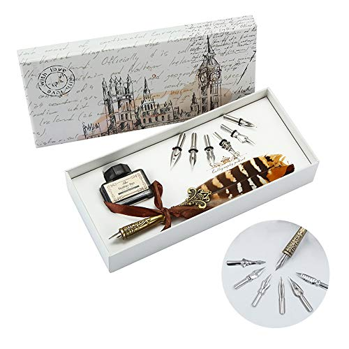 Quill Feather Pen Set with Ink English Calligraphy Dip Pen Writing Ink Set with 6 Replacement Nibs,Calligraphy Set for Beginners